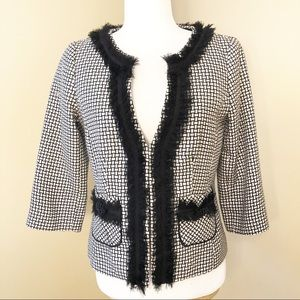 WHBM Ruffle Trim Black/White Check Jacket - 4